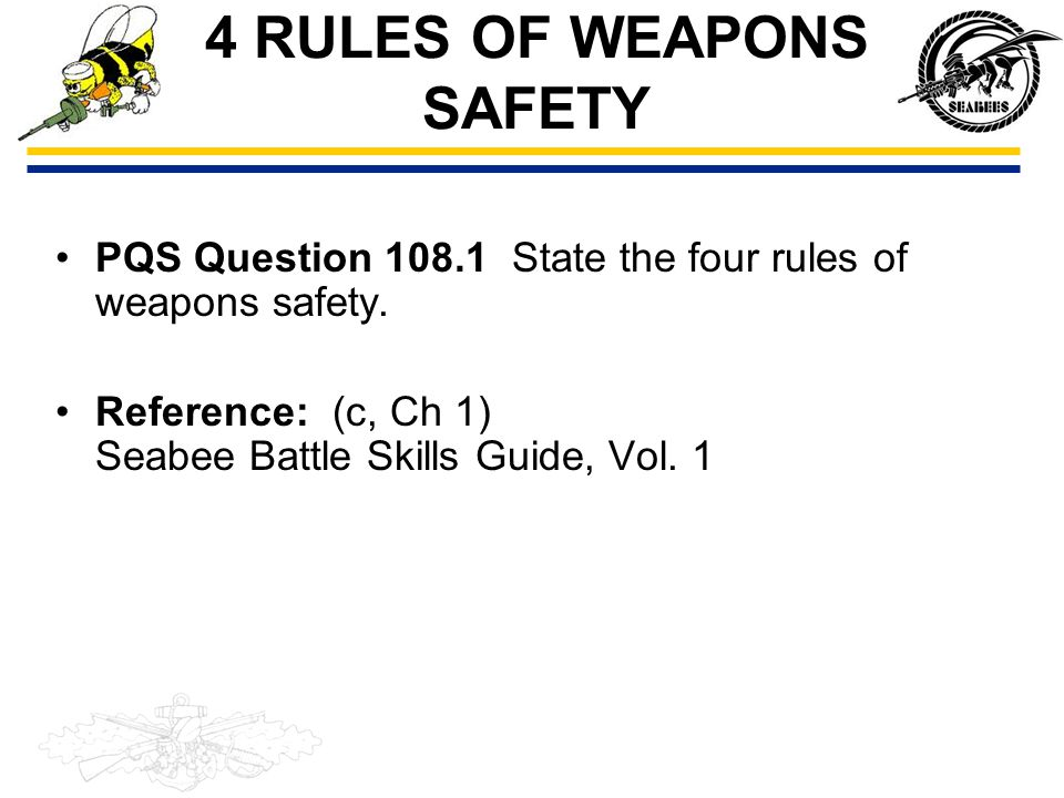 4 RULES OF WEAPONS SAFETY Rule 1 – Treat every weapon as if it were loaded.