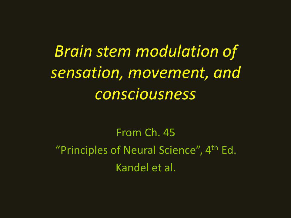 Brain stem modulation of sensation, movement, and consciousness From Ch.