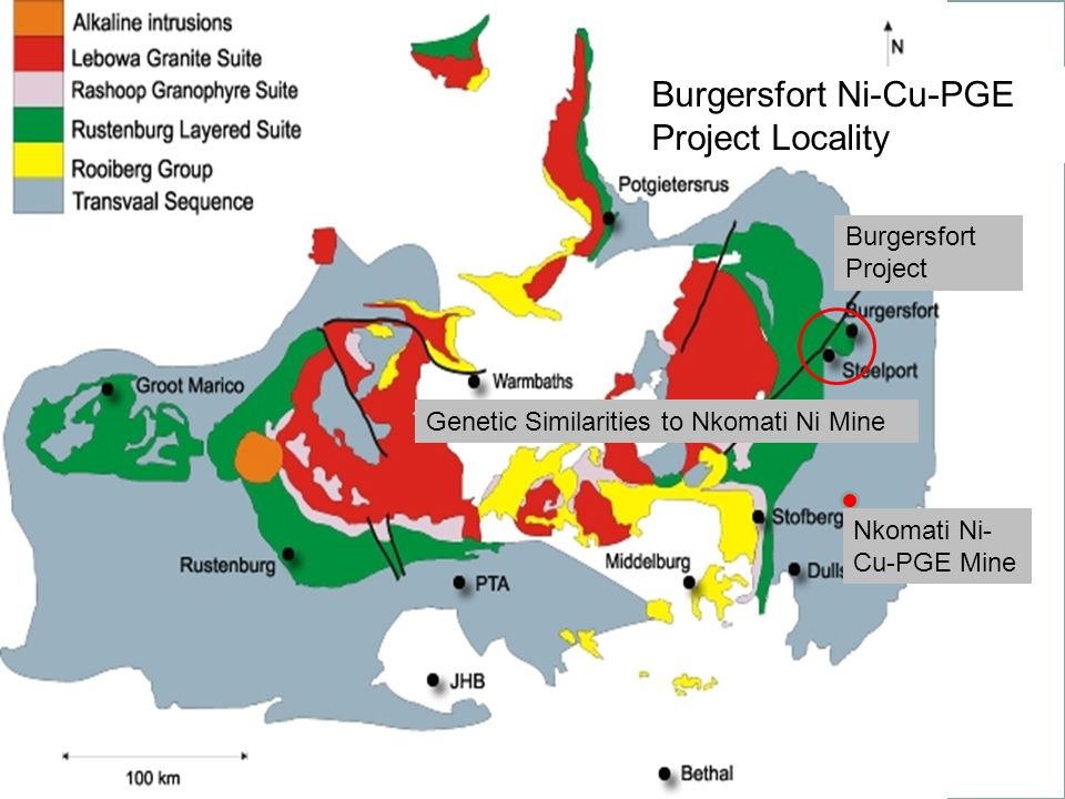 Burgersfort Ni-Cu-PGE Project Geology Map Target modelled on the Nkomati Ni mine A B Burgersfort Ni-Cu-PGE Project Locality Nkomati Ni- Cu-PGE Mine Bu