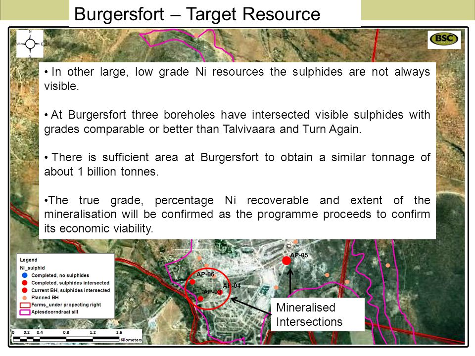 Mineralised Intersections In other large, low grade Ni resources the sulphides are not always visible. At Burgersfort three boreholes have intersected