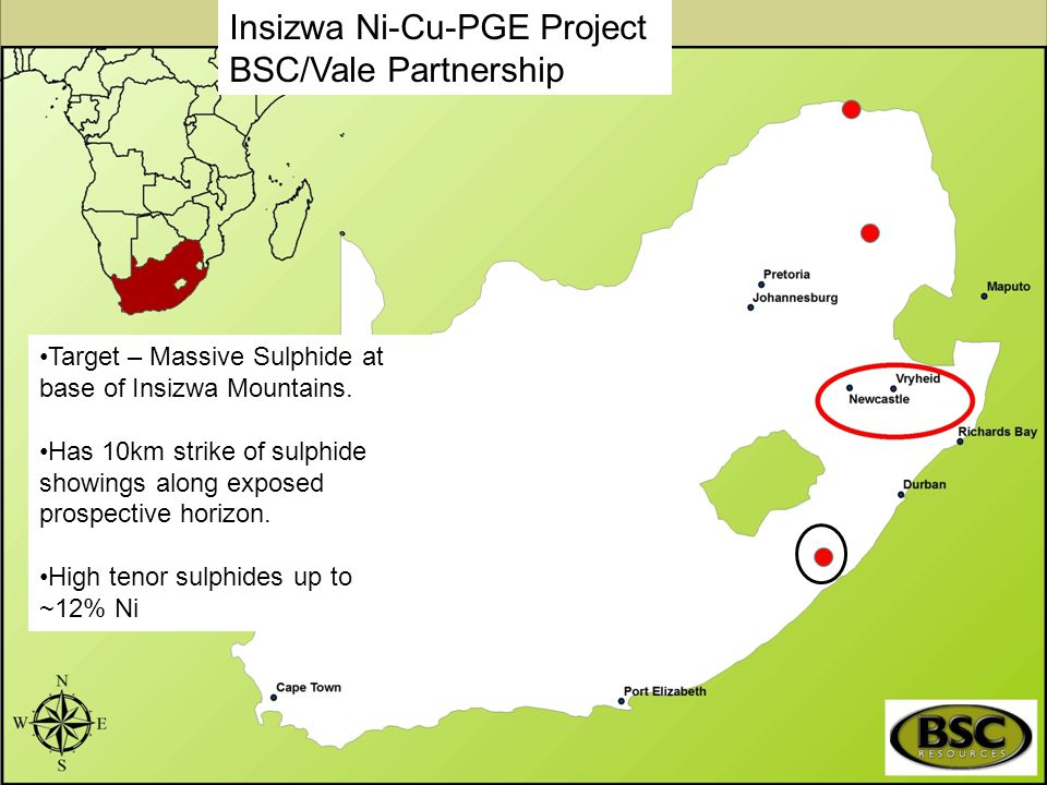 Insizwa Ni-Cu-PGE Project BSC/Vale Partnership Target – Massive Sulphide at base of Insizwa Mountains. Has 10km strike of sulphide showings along expo