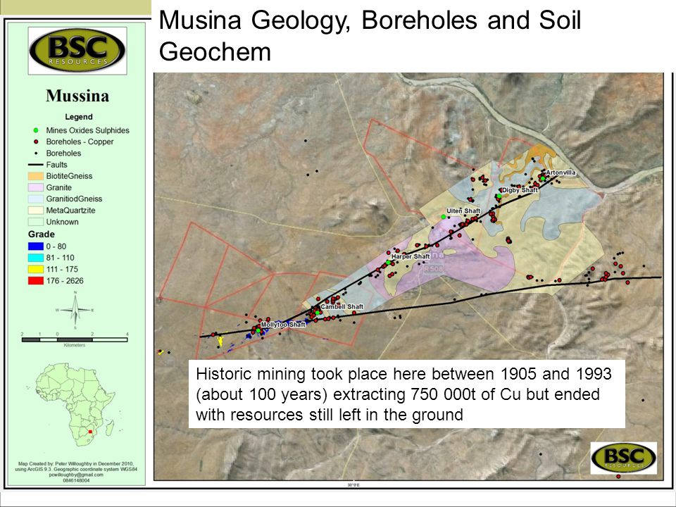 Musina Geology, Boreholes and Soil Geochem Historic mining took place here between 1905 and 1993 (about 100 years) extracting 750 000t of Cu but ended