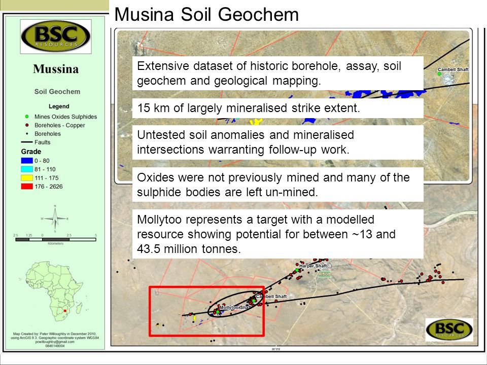 Musina Soil Geochem 15 km of largely mineralised strike extent. Extensive dataset of historic borehole, assay, soil geochem and geological mapping. Un