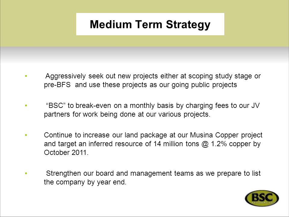 """Medium Term Strategy Aggressively seek out new projects either at scoping study stage or pre-BFS and use these projects as our going public projects """""""
