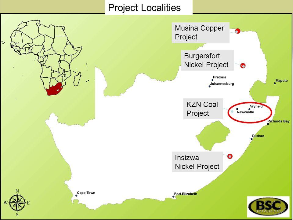 Musina Copper Project Burgersfort Nickel Project Insizwa Nickel Project KZN Coal Project Project Localities