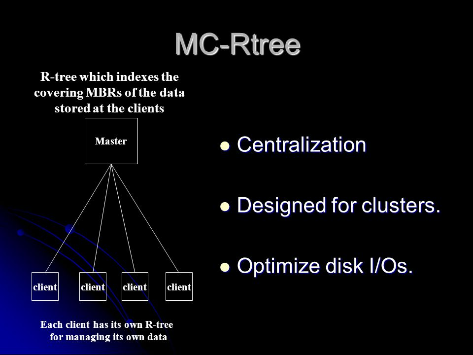 MC-Rtree R-tree which indexes the covering MBRs of the data stored at the clients Each client has its own R-tree for managing its own data Master client Centralization Centralization Designed for clusters.