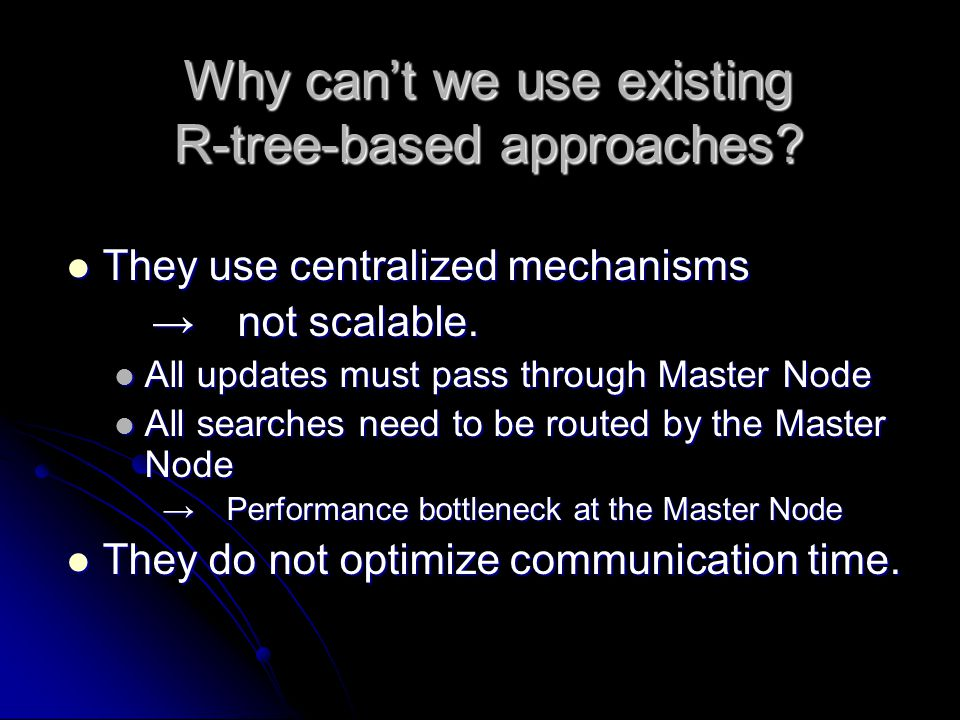 Why can't we use existing R-tree-based approaches.