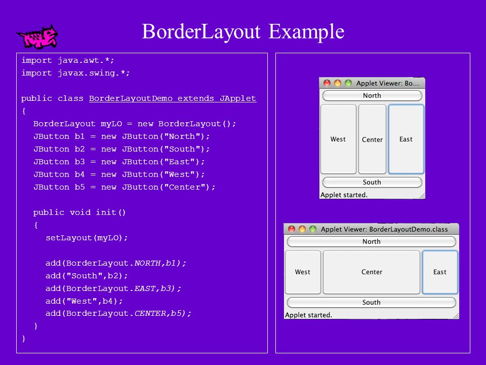 The BorderLayout Class Constructors: (1)BorderLayout() Creates a BorderLayout object with center alignment and horizontal and vertical gaps of zero pixels each.