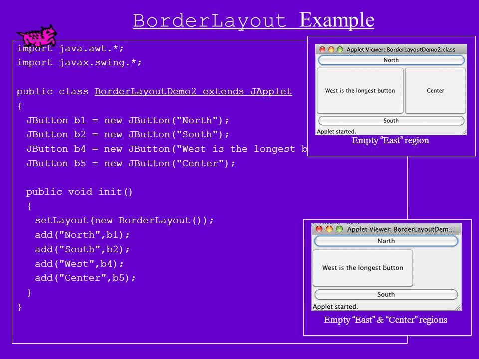 BorderLayout Example import java.awt.*; import javax.swing.*; public class BorderLayoutDemo2 extends JApplet { JButton b1 = new JButton( North ); JButton b2 = new JButton( South ); JButton b3 = new JButton( East ); JButton b4 = new JButton( West is the longest button ); JButton b5 = new JButton( Center ); public void init() { setLayout(new BorderLayout()); add( North ,b1); add( South ,b2); add( East ,b3); add( West ,b4); add( Center ,b5); }