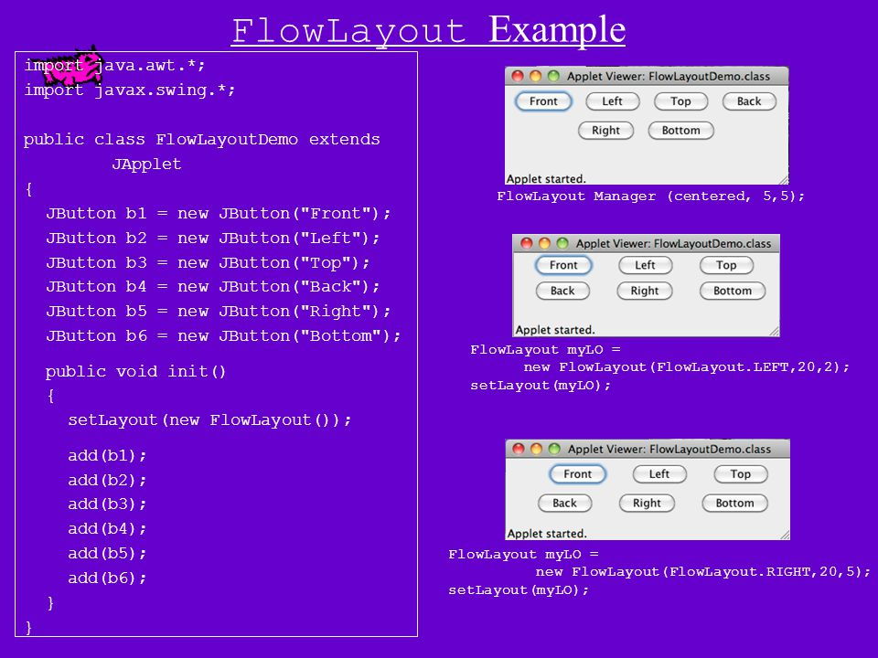 The FlowLayout Class Constructors: (1) FlowLayout() Creates a FlowLayout object with center alignment and horizontal and vertical gaps of five pixel each.