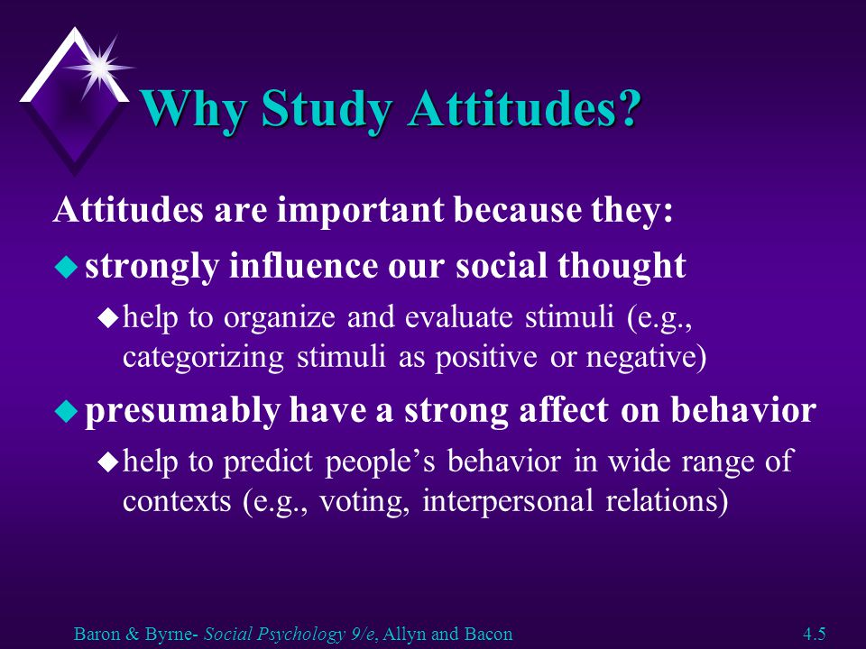 Attitudes u How are attitudes formed.u Do attitudes influence behavior.