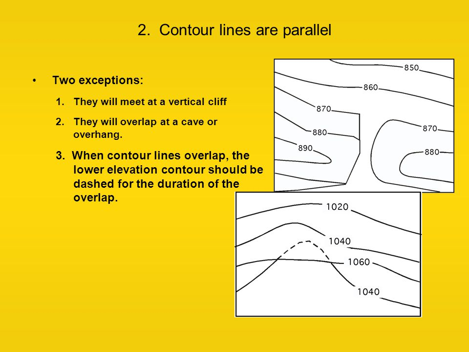 2. Contour lines are parallel Two exceptions: 1.They will meet at a vertical cliff 2.They will overlap at a cave or overhang. 3. When contour lines ov