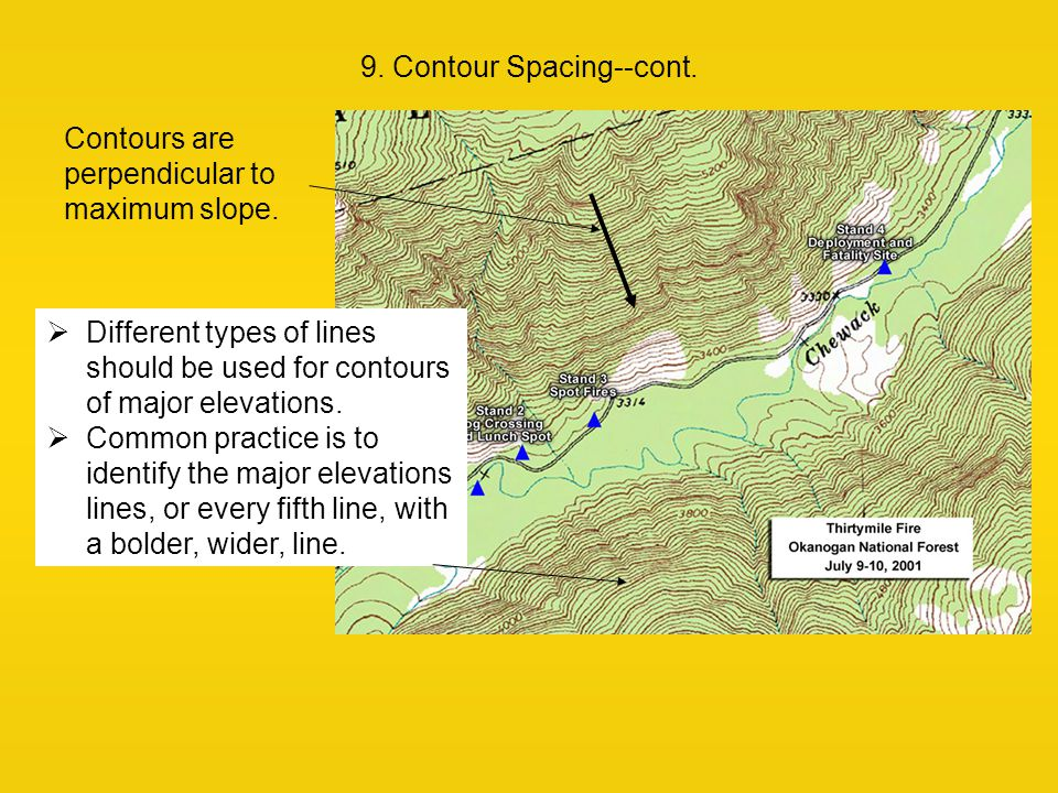 9. Contour Spacing--cont. Contours are perpendicular to maximum slope.  Different types of lines should be used for contours of major elevations.  C