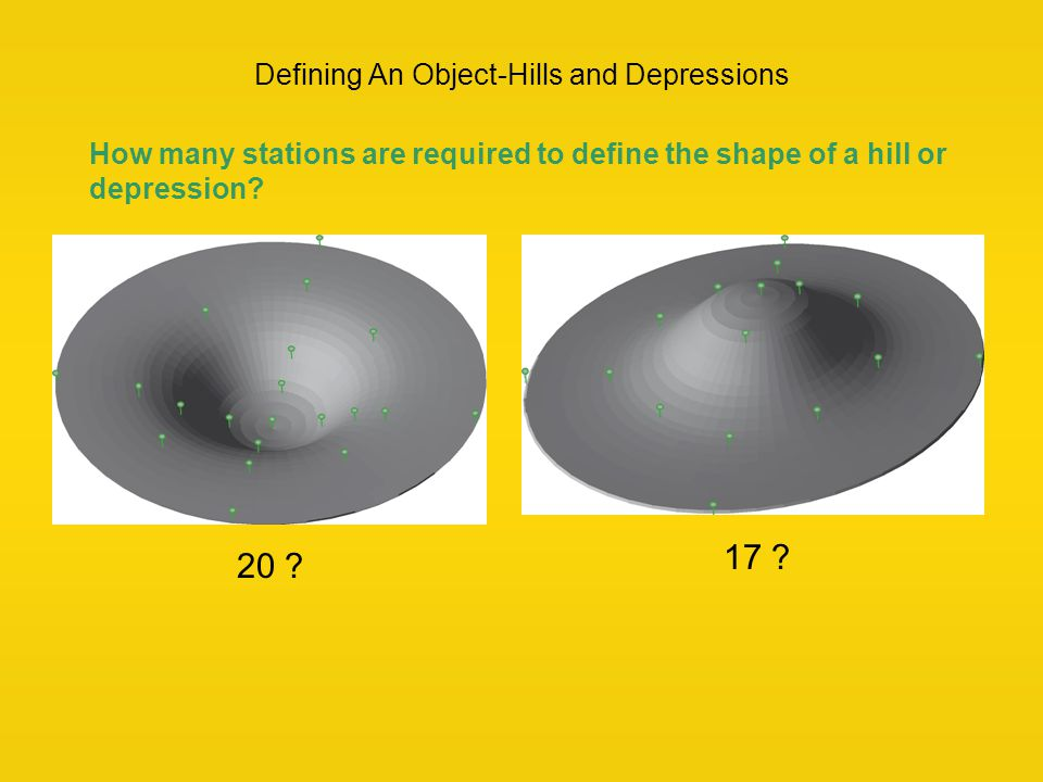 Defining An Object-Hills and Depressions How many stations are required to define the shape of a hill or depression? 17 ? 20 ?