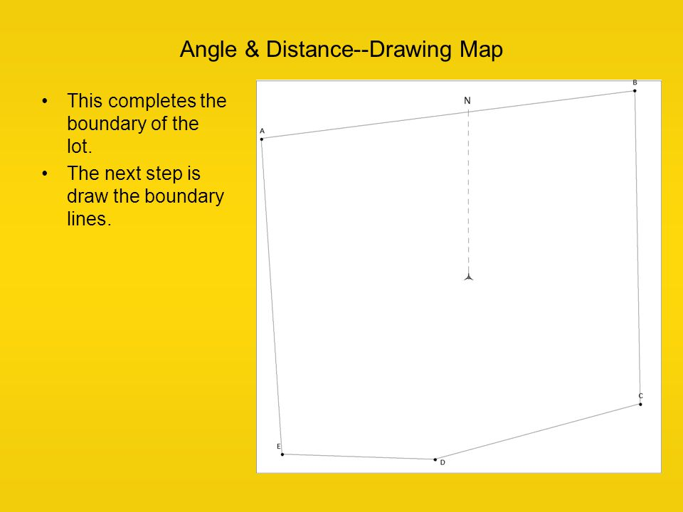 This completes the boundary of the lot. The next step is draw the boundary lines. Angle & Distance--Drawing Map