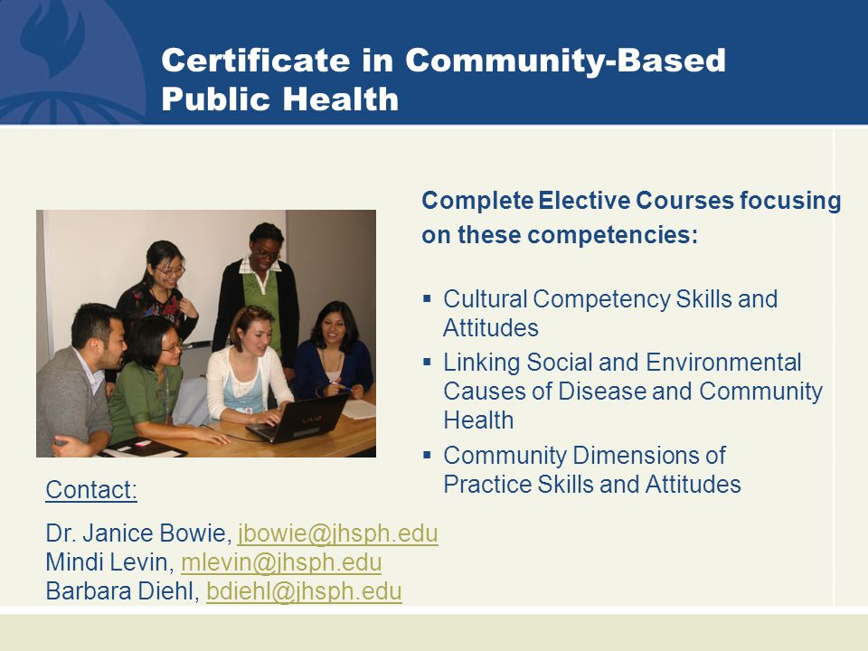 Certificate in Community-Based Public Health Complete Elective Courses focusing on these competencies:  Cultural Competency Skills and Attitudes  Linking Social and Environmental Causes of Disease and Community Health  Community Dimensions of Practice Skills and Attitudes Dr.