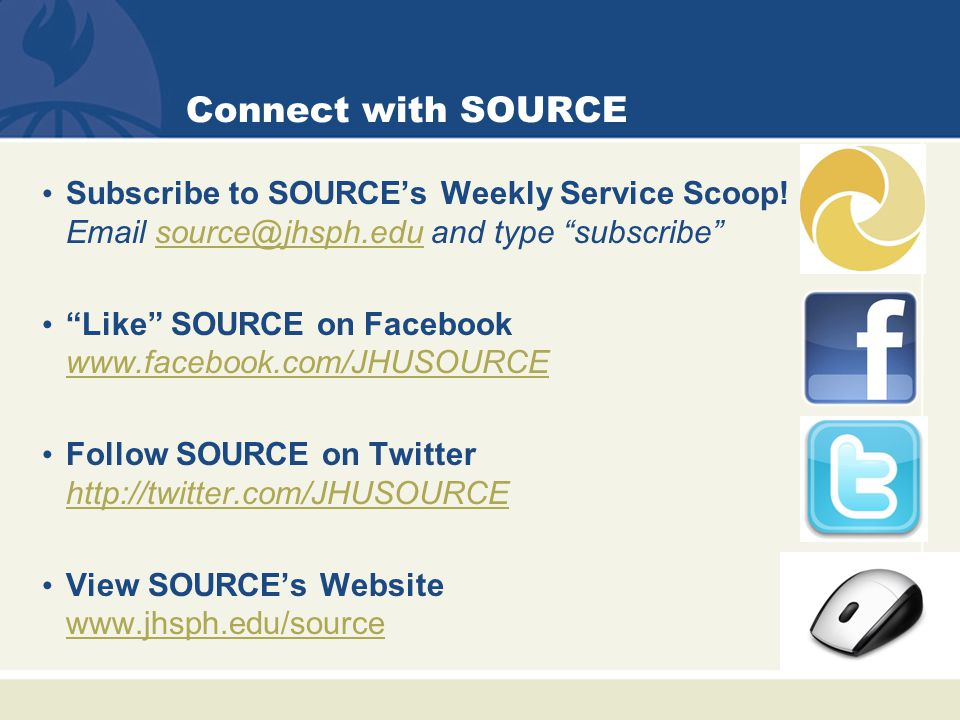 Connect with SOURCE Subscribe to SOURCE's Weekly Service Scoop.