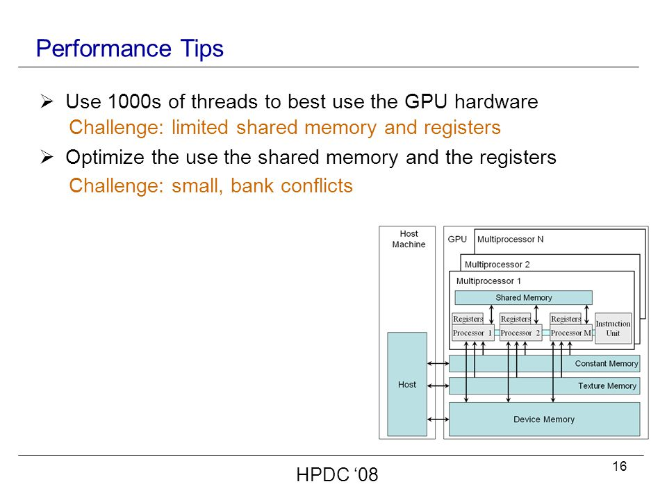 16 Performance Tips HPDC '08  Use 1000s of threads to best use the GPU hardware  Optimize the use the shared memory and the registers Challenge: limited shared memory and registers Challenge: small, bank conflicts