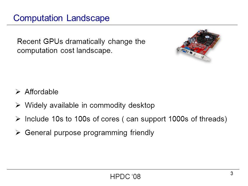 14 NVIDIA CUDA GPU Architecture HPDC '08  SIMD Architecture.