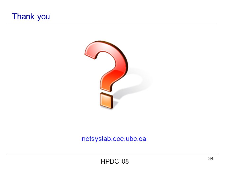 34 Thank you netsyslab.ece.ubc.ca HPDC '08