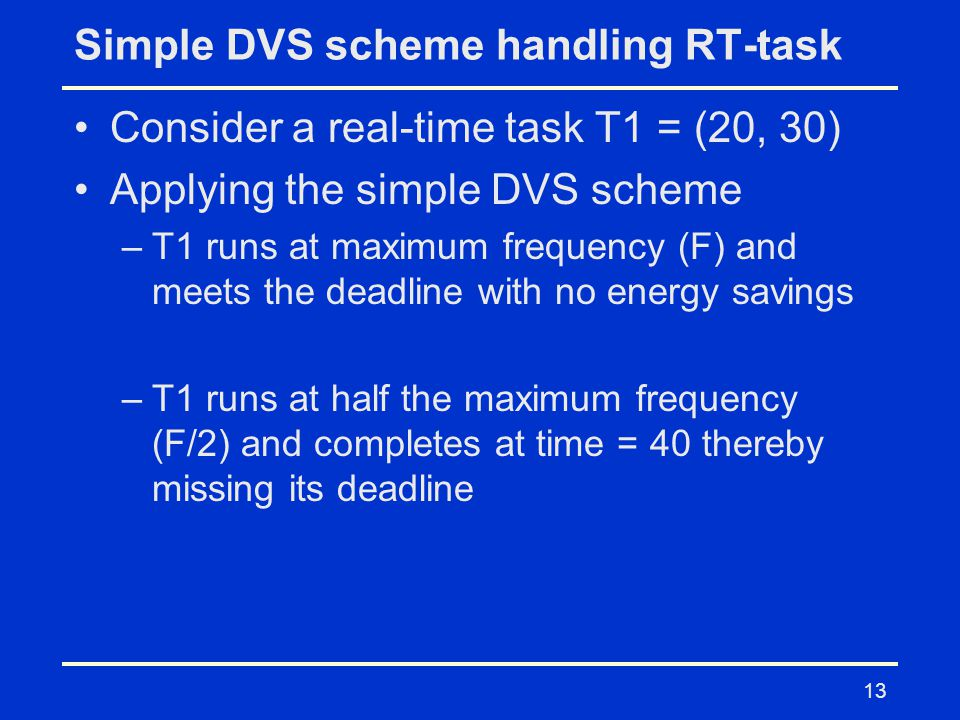 13 Simple DVS scheme handling RT-task Consider a real-time task T1 = (20, 30) Applying the simple DVS scheme –T1 runs at maximum frequency (F) and meets the deadline with no energy savings –T1 runs at half the maximum frequency (F/2) and completes at time = 40 thereby missing its deadline