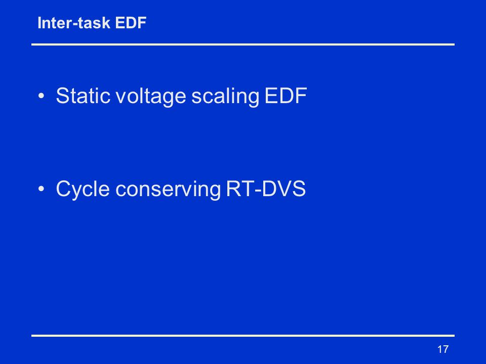 17 Inter-task EDF Static voltage scaling EDF Cycle conserving RT-DVS