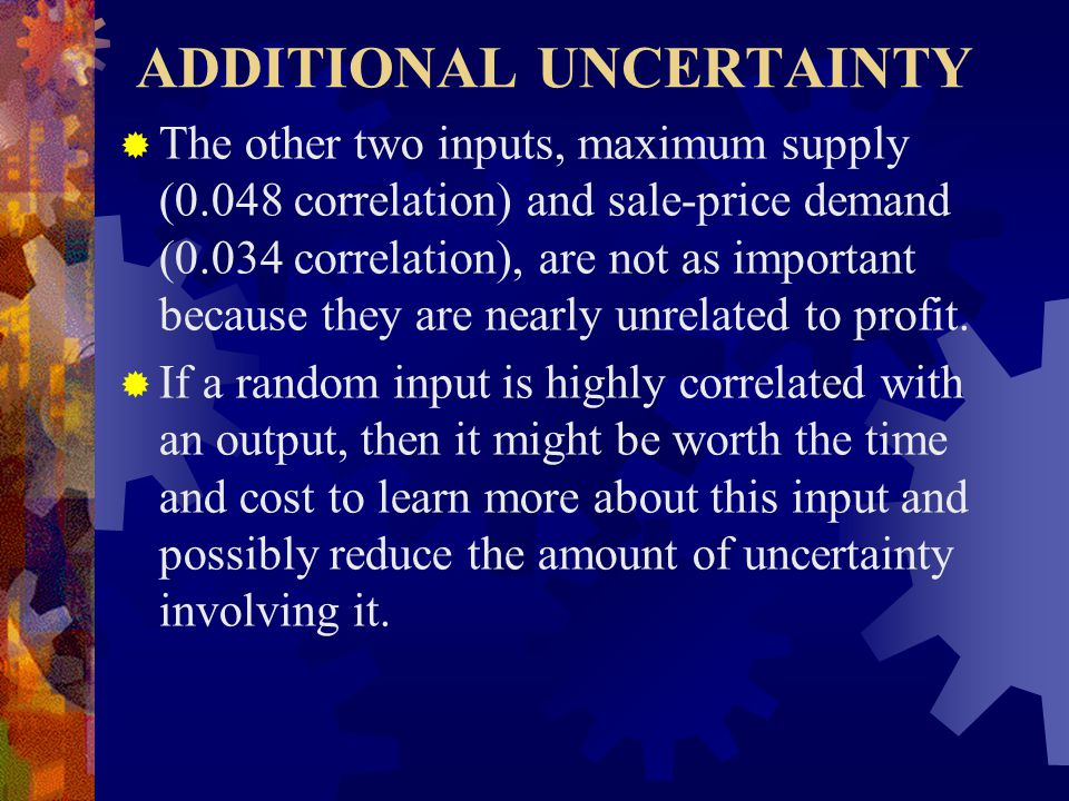 ADDITIONAL UNCERTAINTY  The other two inputs, maximum supply (0.048 correlation) and sale-price demand (0.034 correlation), are not as important because they are nearly unrelated to profit.