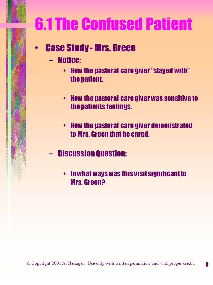 8 6.1 The Confused Patient Case Study - Mrs.