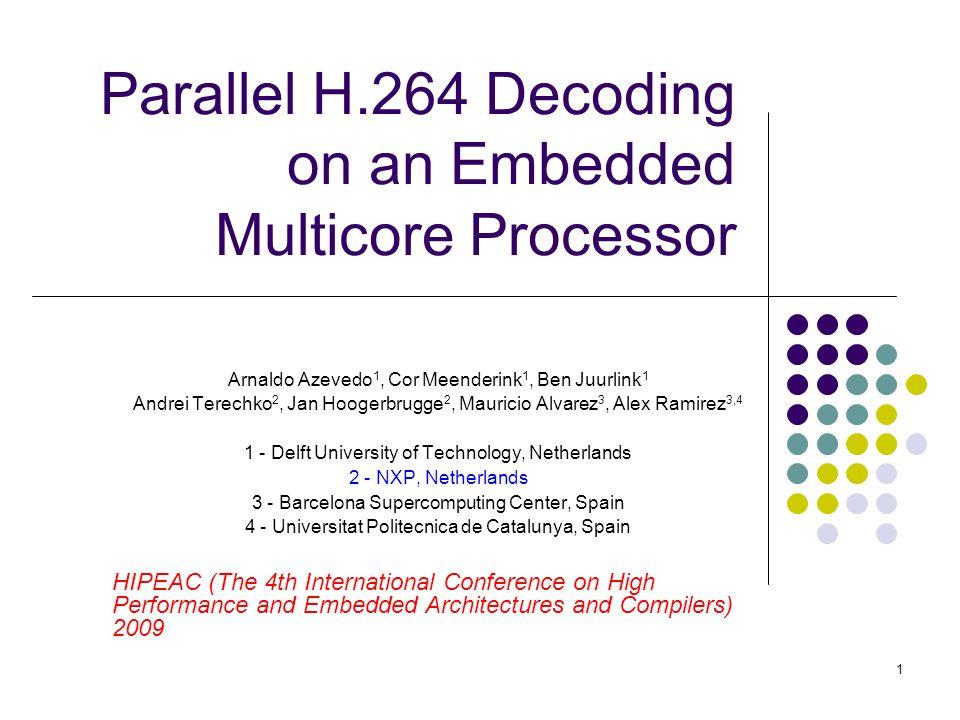 1 Parallel H.264 Decoding on an Embedded Multicore Processor Arnaldo Azevedo 1, Cor Meenderink 1, Ben Juurlink 1 Andrei Terechko 2, Jan Hoogerbrugge 2