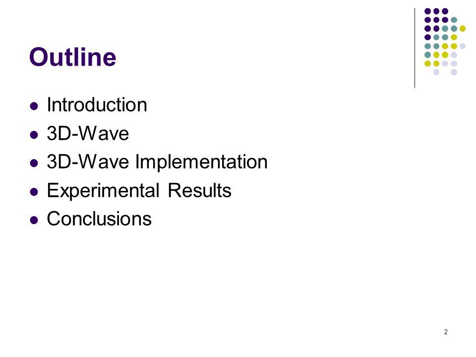 2 Outline Introduction 3D-Wave 3D-Wave Implementation Experimental Results Conclusions