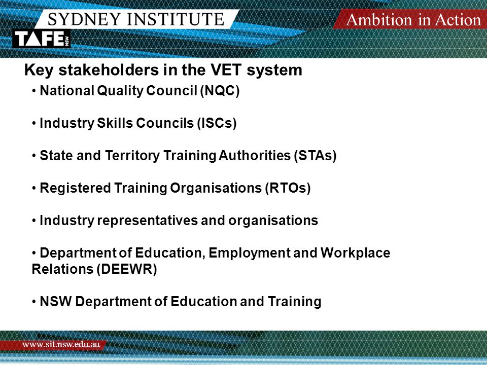 Ambition in Action www.sit.nsw.edu.au Key stakeholders in the VET system National Quality Council (NQC) Industry Skills Councils (ISCs) State and Territory Training Authorities (STAs) Registered Training Organisations (RTOs) Industry representatives and organisations Department of Education, Employment and Workplace Relations (DEEWR) NSW Department of Education and Training