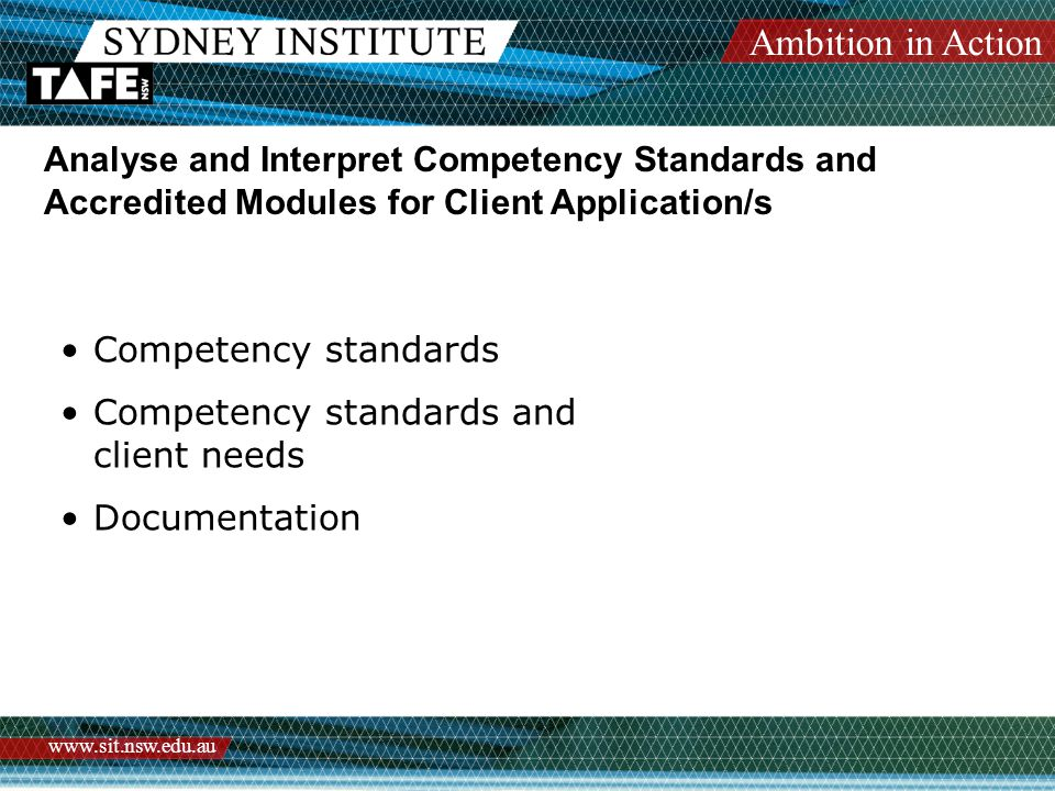 Ambition in Action www.sit.nsw.edu.au Analyse and Interpret Competency Standards and Accredited Modules for Client Application/s Competency standards Competency standards and client needs Documentation