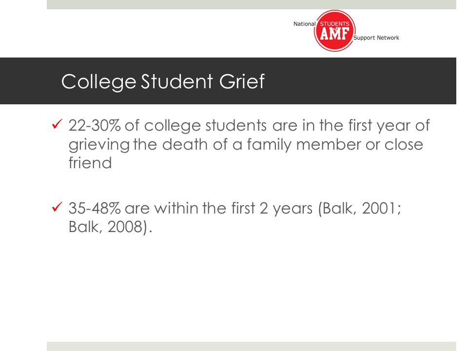 College Student Grief 22-30% of college students are in the first year of grieving the death of a family member or close friend 35-48% are within the first 2 years (Balk, 2001; Balk, 2008).
