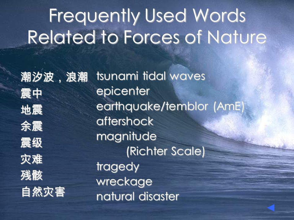 潮汐波,浪潮震中 地震 地震 余震 余震 震级 震级 灾难 灾难 残骸 残骸 自然灾害 Frequently Used Words Related to Forces of Nature tsunami tidal waves epicenter earthquake/temblor (AmE) a