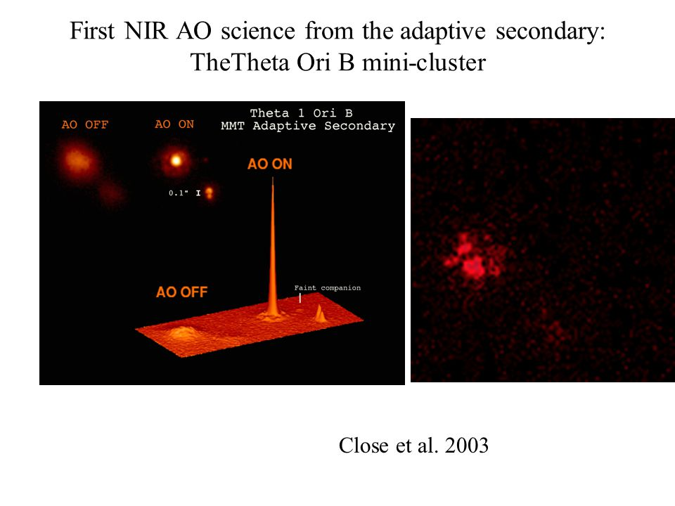 First NIR AO science from the adaptive secondary: TheTheta Ori B mini-cluster Close et al. 2003
