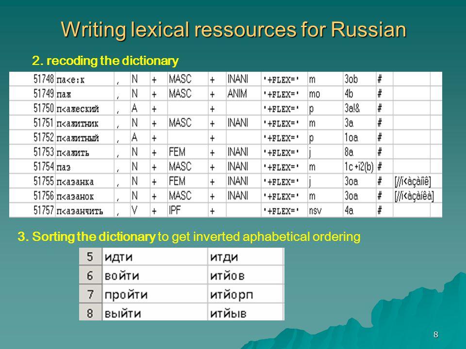 29 Russian Module for NooJ http://www.nooj4nlp.net/pages/russian.html