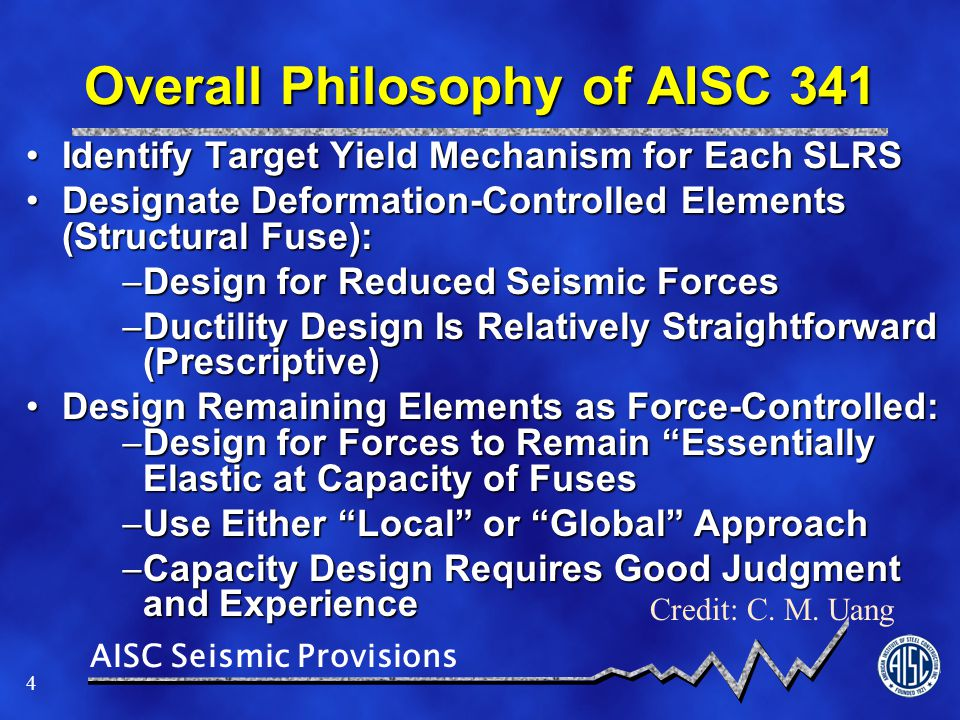 AISC Seismic Provisions 55 Significant inelastic deformationSignificant inelastic deformation > Ensure shear yielding of the coupling beams System requirements similar to C-OSW with the following exceptions:System requirements similar to C-OSW with the following exceptions: > Coupling beams yield over the building height followed by yielding at the base of the wall piers Apply a wall overstrength factor ω o to the wall design forcesApply a wall overstrength factor ω o to the wall design forces > The axial design strength of the wall at the balanced condition (P b ) shall equal or exceed the sum of 1.1R y V n of the coupling beams > Use 1.1R y V n or 1.1R y V p to compute the embedment length (L e ).