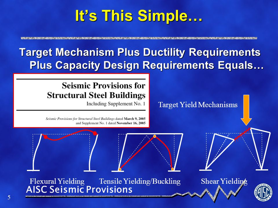 AISC Seismic Provisions 46 BRBF Provisions (cont.) Steel core restrained from bucklingSteel core restrained from buckling > Braces tested for twice Design Story Drift Appendix T specifies testing requirementsAppendix T specifies testing requirements > Brace strength addresses strain hardening and compression strength increase due to confining system Connections designed for adjusted strengthConnections designed for adjusted strength Chevron requirements less demanding than SCBFChevron requirements less demanding than SCBF Column splices similar to SCBFColumn splices similar to SCBF Increased Connection Reqt's, DC welds at column splices and base, and no PJP groove welded splices similar to SCBFIncreased Connection Reqt's, DC welds at column splices and base, and no PJP groove welded splices similar to SCBF