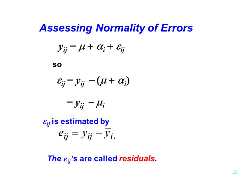 28 y ij =  i  ij Assessing Normality of Errors  ij = y ij  (  i ) so  ij is estimated by = y ij  i The e ij ' s are called residuals.