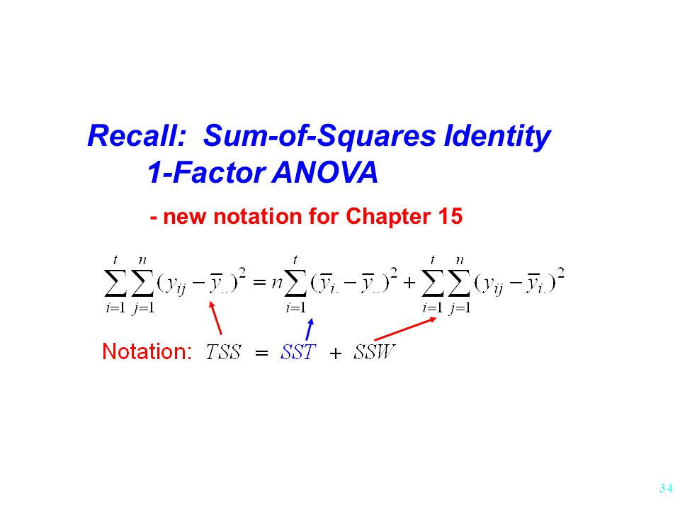 34 Recall: Sum-of-Squares Identity 1-Factor ANOVA - new notation for Chapter 15
