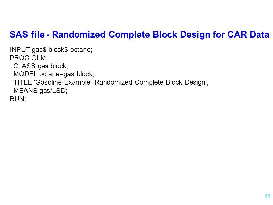 55 SAS file - Randomized Complete Block Design for CAR Data INPUT gas$ block$ octane; PROC GLM; CLASS gas block; MODEL octane=gas block; TITLE Gasoline Example -Randomized Complete Block Design ; MEANS gas/LSD; RUN;