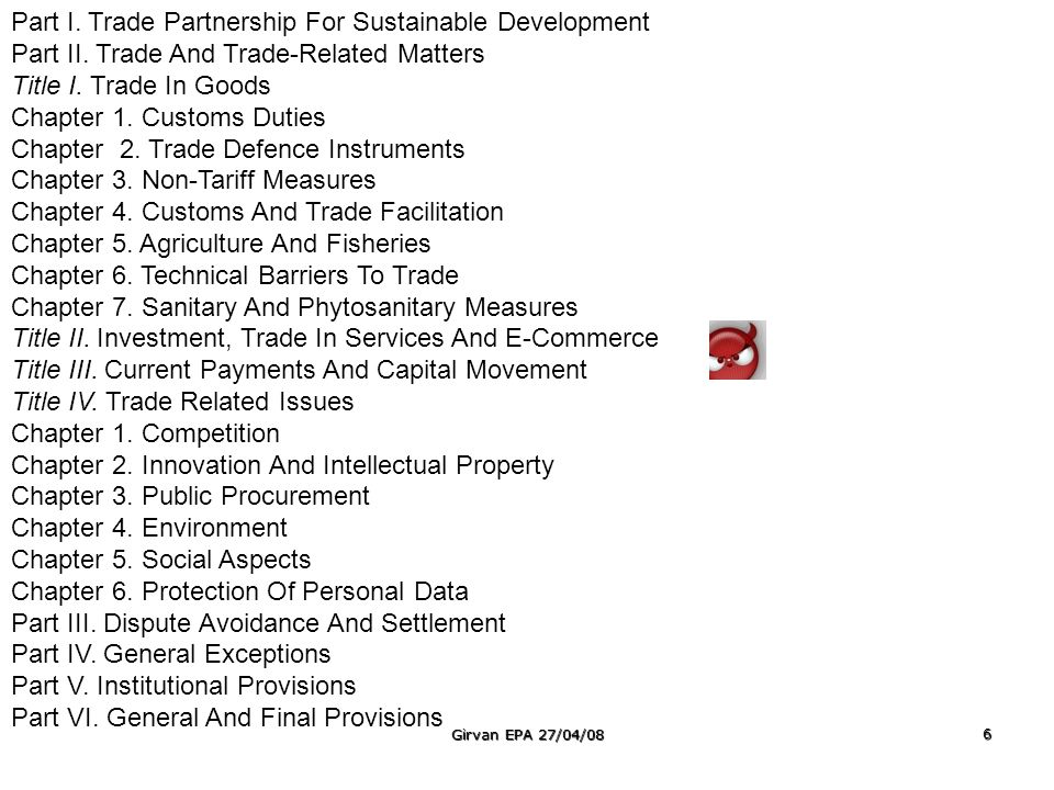 Preamble Chapter One: Principles Chapter Two: Institutional Arrangements Chapter Three: Establishment, Services, Capital and Movement of Community Nationals Chapter Four: Policies For Sectoral Development Part One: Industrial Policy Part Two: Agricultural Policy Part Three: Common Supportive Measures Chapter Five: Trade Policy Part One: Preliminary Part Two: Trade Liberalisation Part Three: Subsidies Part Four: Subsidies to Agriculture Part Five: Dumping Chapter Six: Transport Policy Chapter Seven: Disadvantaged Countries, Regions and Sectors Part One: Preliminary Part Two: Regime for Disadvantaged Countries, Regions and Sectors Part Three: Special regime for Less Developed Countries Chapter Eight; Competition Policies and Consumer Protection Chapter Nine: Disputes Settlement Chapter Ten: General and Final Provisions