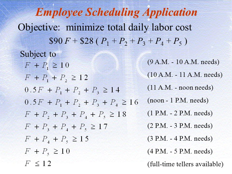 Employee Scheduling Application Objective: minimize total daily labor cost $90 F + $28 ( P 1 + P 2 + P 3 + P 4 + P 5 ) Subject to (9 A.M. - 10 A.M. ne