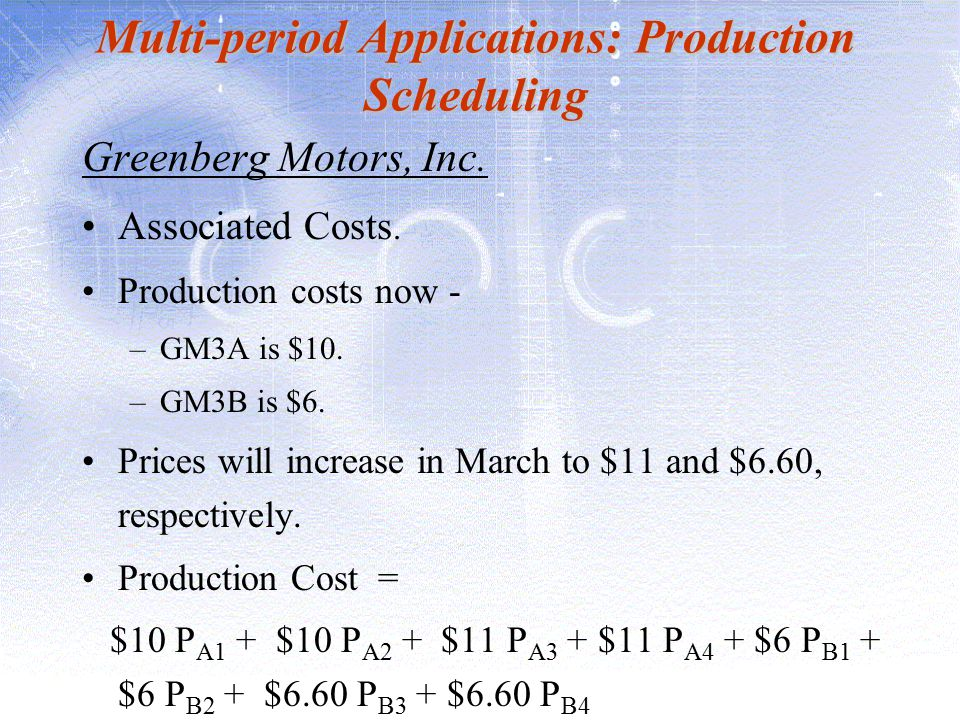Multi-period Applications: Production Scheduling Greenberg Motors, Inc. Associated Costs. Production costs now - –GM3A is $10. –GM3B is $6. Prices wil