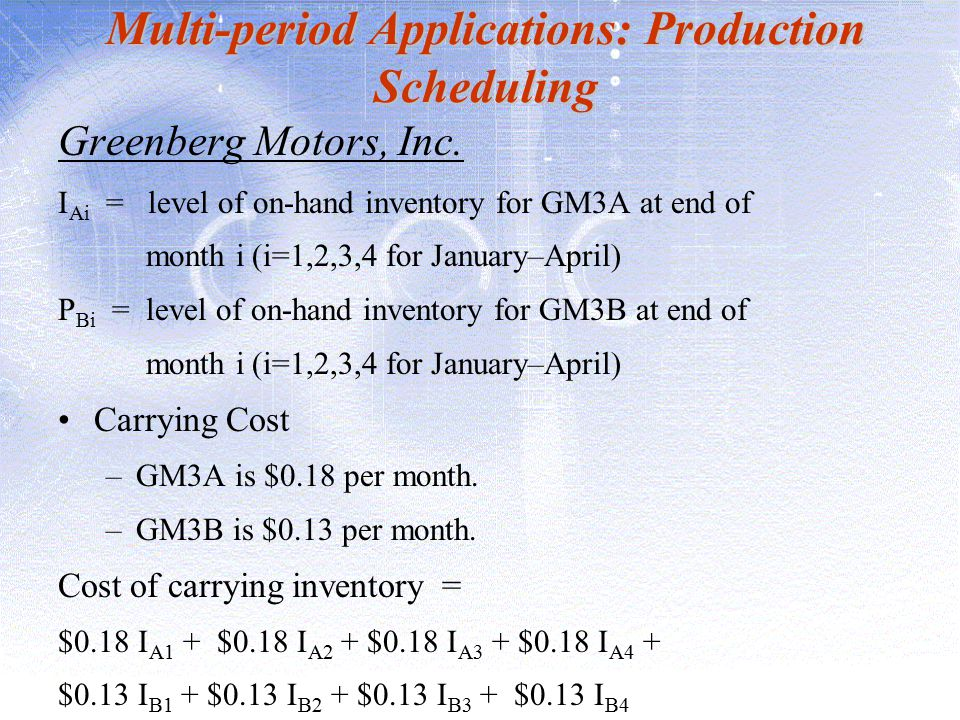 Multi-period Applications: Production Scheduling Greenberg Motors, Inc. I Ai = level of on-hand inventory for GM3A at end of month i (i=1,2,3,4 for Ja