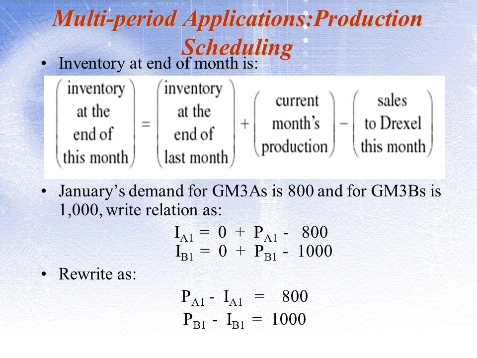 Multi-period Applications:Production Scheduling Inventory at end of month is: January's demand for GM3As is 800 and for GM3Bs is 1,000, write relation