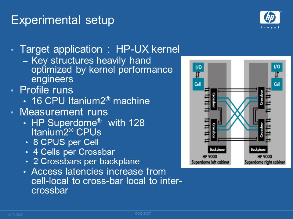Experimental setup Target application : HP-UX kernel – Key structures heavily hand optimized by kernel performance engineers Profile runs 16 CPU Itanium2 ® machine Measurement runs HP Superdome ® with 128 Itanium2 ® CPUs 8 CPUS per Cell 4 Cells per Crossbar 2 Crossbars per backplane Access latencies increase from cell-local to cross-bar local to inter- crossbar 3/13/2007 CGO 2007