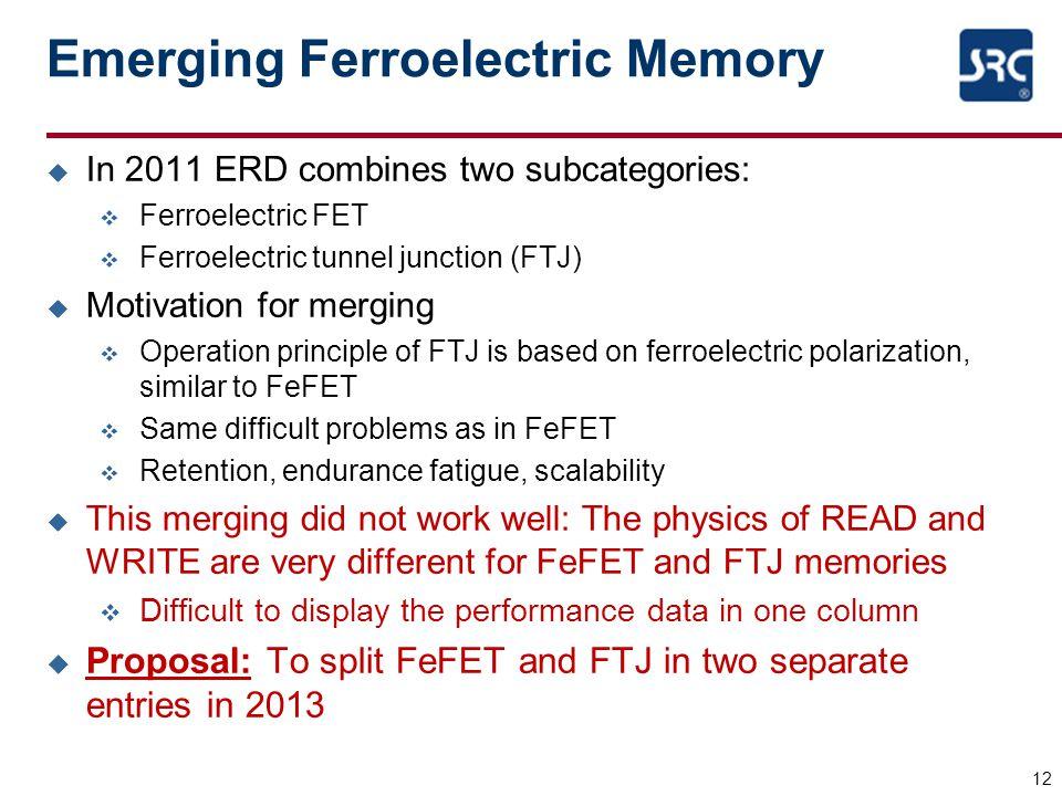 Emerging Ferroelectric Memory u In 2011 ERD combines two subcategories: v Ferroelectric FET v Ferroelectric tunnel junction (FTJ) u Motivation for mer