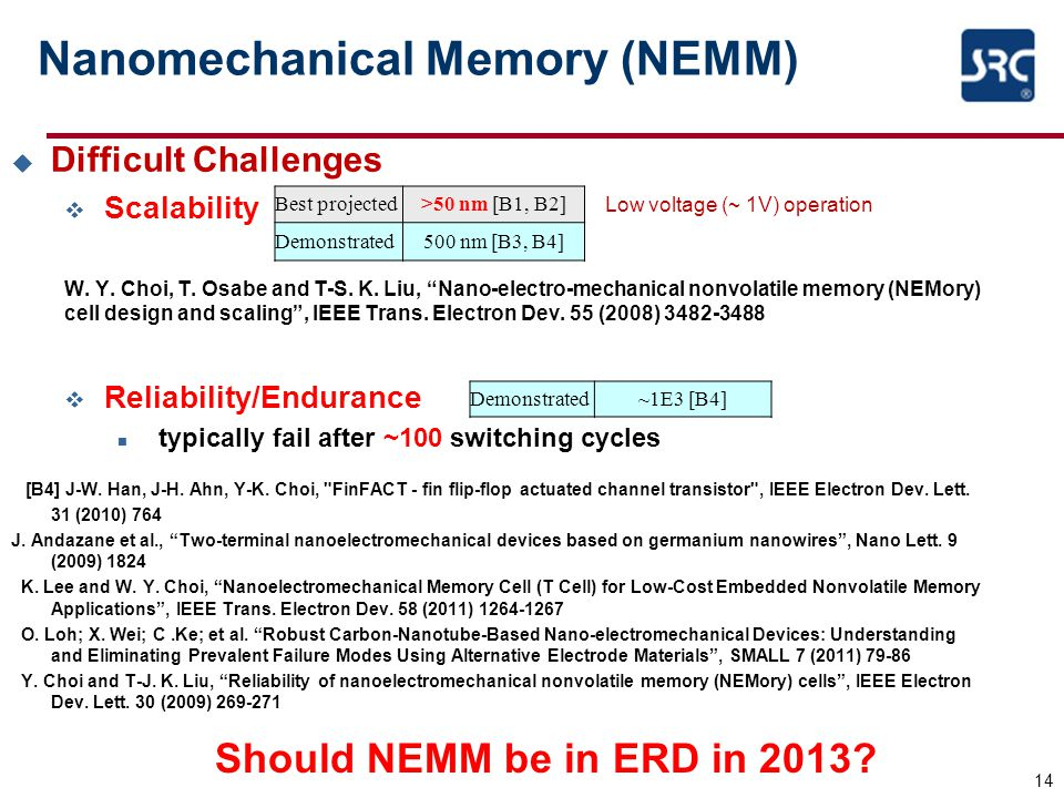 Nanomechanical Memory (NEMM)  Difficult Challenges v Scalability W.
