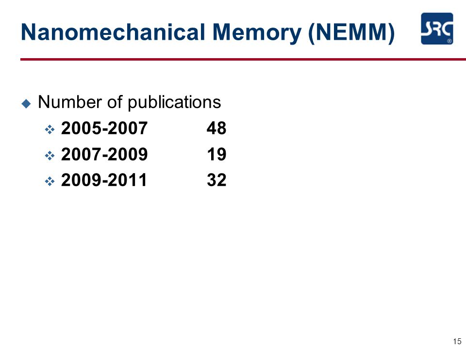 15 Nanomechanical Memory (NEMM) u Number of publications v 2005-200748 v 2007-200919 v 2009-201132